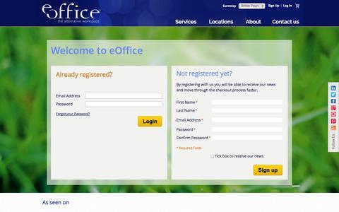 Screenshot of Signup Page eoffice.net - Customer Login - captured Oct. 28, 2014