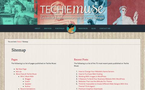 Screenshot of Site Map Page techiemuse.com - Sitemap | Techie Muse - captured Jan. 14, 2016