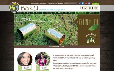 Screenshot of Contact Page bokulovelife.com - Contact Us - Boku Super Food - captured Oct. 5, 2014