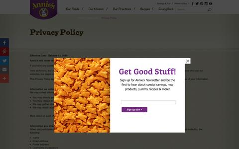 Screenshot of Privacy Page annies.com - Privacy Policy - Annie's Homegrown - captured Nov. 21, 2016