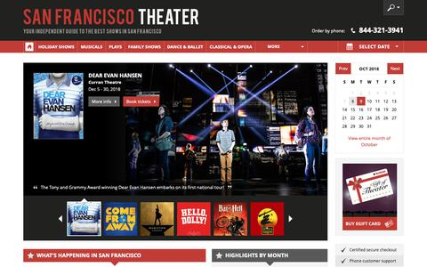 Screenshot of Home Page san-francisco-theater.com - San Francisco Theater: Broadway Shows, Musicals, Plays, Concerts in 2018/19 - captured Oct. 9, 2018