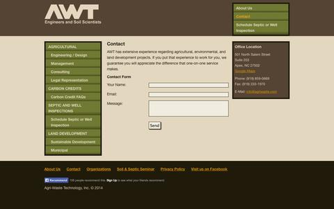 Screenshot of Contact Page agriwaste.com - Contact | Agri-Waste Technology - captured Oct. 4, 2014