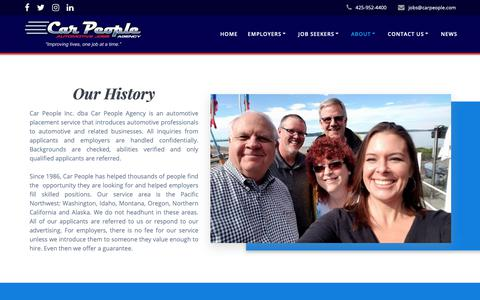 Screenshot of About Page carpeople.com - About – Car People Agency - captured Sept. 27, 2018