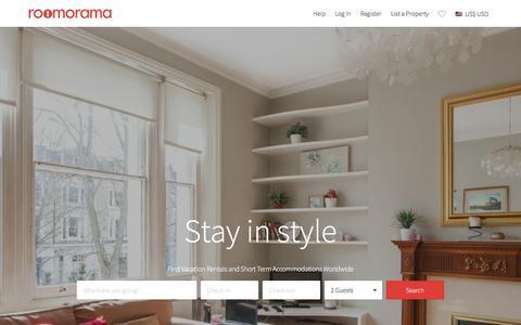 Screenshot of Home Page roomorama.com - Vacation Rentals, Short Term Holiday Homes & HomeStay - Roomorama - captured Jan. 20, 2016