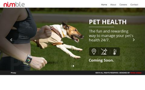 Screenshot of Home Page nimblewireless.com - A complete Pet Safety Monitor in your hands | Nimble Wireless - captured Nov. 3, 2019