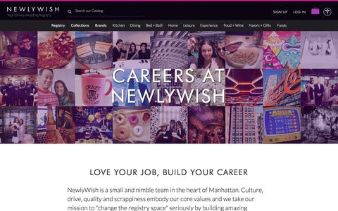 Screenshot of Jobs Page newlywish.com - Careers at NewlyWish - NewlyWish - captured June 18, 2017