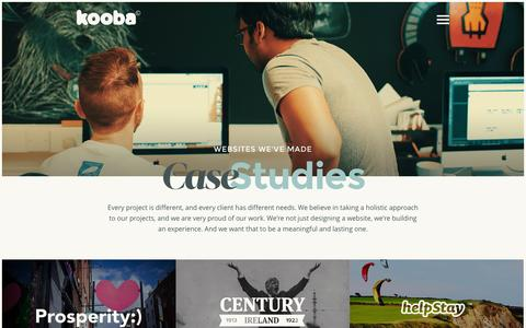 Screenshot of Case Studies Page kooba.ie - Case Studies | Web Design Kooba  - The Award Winning Agency - Dublin, Ireland - captured Oct. 29, 2014