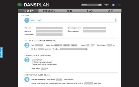 Screenshot of Signup Page dansplan.com - Dan's Plan | Sign up for free to create a personalized plan - captured Sept. 24, 2014
