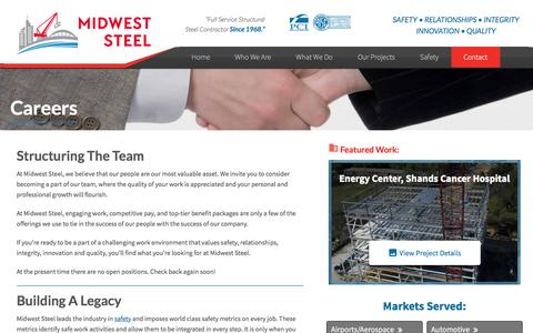 Screenshot of Jobs Page midweststeel.com - Careers with Midwest Steel, INC - captured Dec. 6, 2016