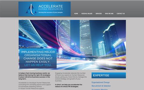 Screenshot of Home Page acceleratehr.com.au - Accelerate Human Resources - captured Oct. 4, 2014