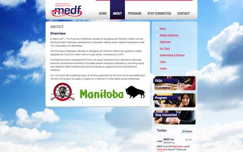 Screenshot of About Page medf.ca - About | Metis Economic Development Fund - captured Oct. 27, 2014