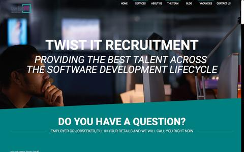 Screenshot of Home Page twistitrecruitment.com - Twist IT Recruitment - captured Sept. 17, 2015