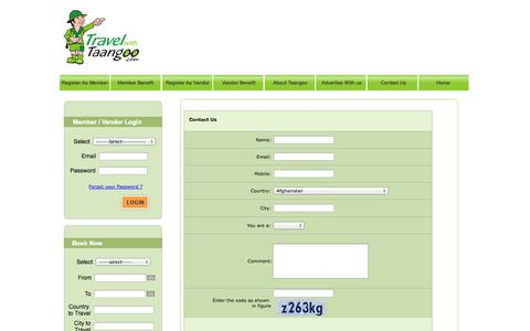 Screenshot of Contact Page travelwithtaangoo.com - Travel With Taangoo - captured Oct. 7, 2014