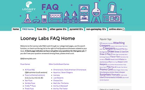 Screenshot of FAQ Page looneylabs.com - Looney Labs FAQ   Everything you ever wanted to know about Looney Labs games (almost) - captured July 17, 2016