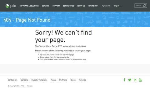 Screenshot of Team Page ptc.com - 404-Redirect | PTC - captured Sept. 2, 2016