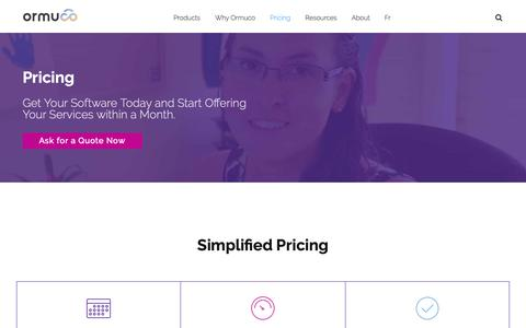 Screenshot of Pricing Page ormuco.com - Ormuco Pricing - Get Your Software Today & Start Providing Cloud Services within a Month - captured May 8, 2019