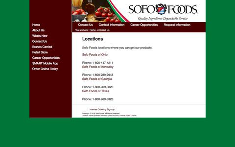 Screenshot of Contact Page sofofoods.com - Sofo Foods - Contact Us - captured Sept. 21, 2018