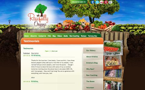 Screenshot of Testimonials Page rawfullyorganic.com - Testimonials - About Us - The Rawfully Organic Co-Op - captured Oct. 26, 2014