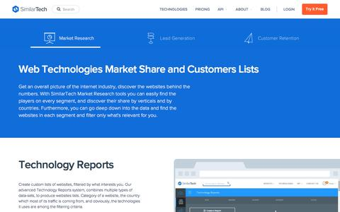 Screenshot of similartech.com - Internet Industry Market Research with SimilarTech - captured Jan. 13, 2018