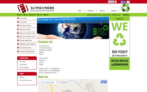 Screenshot of Contact Page ejpolymers.com - Recycling & Waste Management in Malawi - EJ Polymers - captured Sept. 26, 2014
