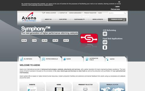 Screenshot of Home Page axens.net - Axens is an international provider of advanced technologies, catalysts, adsorbents and services, with a global reputation for basic engineering design excellence - captured Oct. 24, 2017