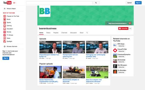 Screenshot of YouTube Page youtube.com - boerenbusiness  - YouTube - captured Oct. 23, 2014