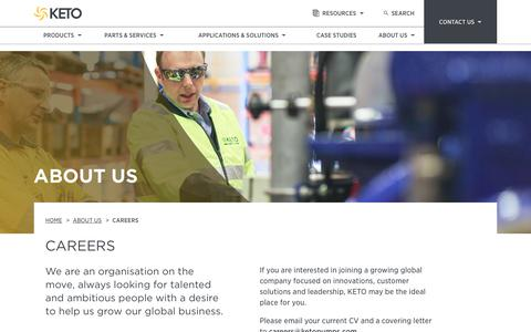 Screenshot of Jobs Page ketopumps.com - Careers | About Us | KETO Pumps - captured Oct. 16, 2017