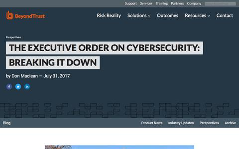Screenshot of Team Page beyondtrust.com - The Executive Order on Cybersecurity: Breaking it Down | BeyondTrust - captured Jan. 3, 2020