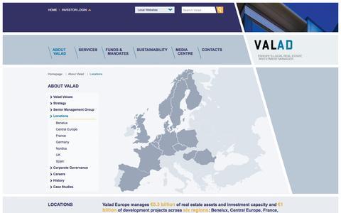 Screenshot of Locations Page valad.eu - VALAD Europe | Locations - captured Feb. 26, 2016
