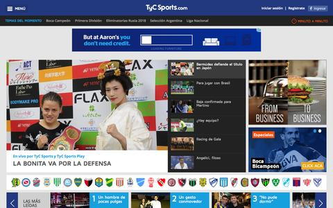Screenshot of Home Page tycsports.com - TyCSports.com - El canal argentino líder del deporte - captured Nov. 11, 2015