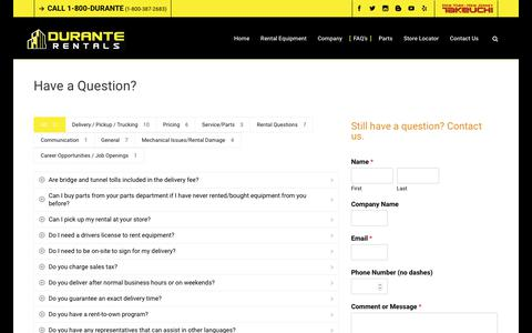 Screenshot of FAQ Page duranterentals.com - Frequently Asked Questions (FAQ's)   Durante Rentals   Have a Question? - captured Nov. 14, 2019