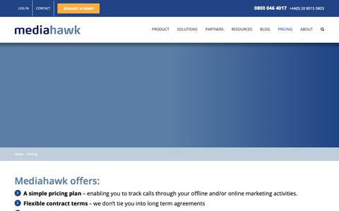 Screenshot of Pricing Page mediahawk.co.uk - Call tracking pricing | Static and Dynamic Numbers | Mediahawk - captured June 15, 2019