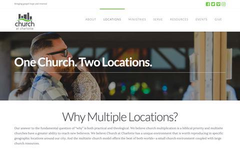 Screenshot of Locations Page churchatcharlotte.org - Locations | Church at Charlotte - captured Nov. 4, 2018