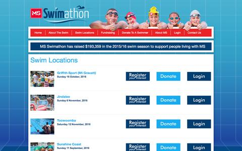 Screenshot of Login Page msswimathon.com.au - Swim Locations - captured April 5, 2016