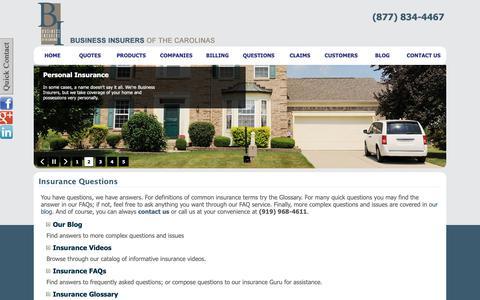 Screenshot of FAQ Page business-insurers.com - Insurance Questions | Business Insurers of the Carolinas - captured Oct. 7, 2018
