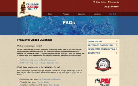 Screenshot of FAQ Page ksentry.com - Krueger Sentry Gauge - Liquid Level Gauges - captured Oct. 16, 2018
