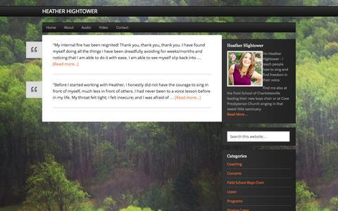 Screenshot of Testimonials Page heatherhightower.com - Testimonials - captured Nov. 1, 2014