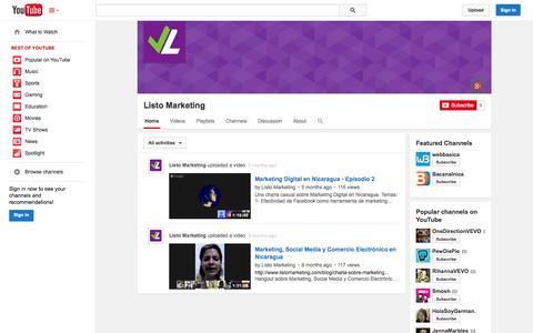 Screenshot of YouTube Page youtube.com - Listo Marketing  - YouTube - captured Oct. 22, 2014