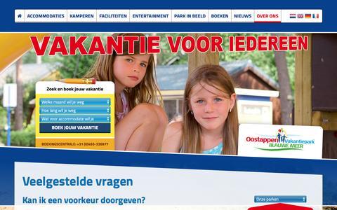 Screenshot of FAQ Page vakantieparkblauwemeer.be - Veelgestelde vragen | Vakantiepark Blauwemeer - captured Feb. 7, 2016