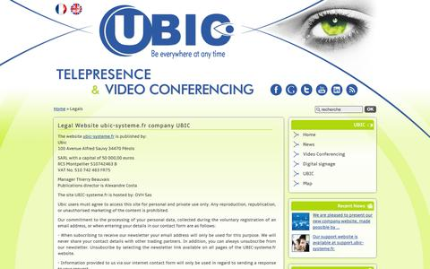 Screenshot of Terms Page ubic-systeme.fr - Legal Website ubic-systeme.fr company UBIC : UBIC Téléprésence Visioconférence - captured Sept. 30, 2014