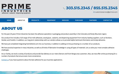 Screenshot of About Page primei.com - About Prime Industries, Inc. | Denver, CO | Prime Industries - captured Nov. 11, 2018