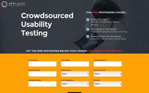 Screenshot of Landing Page applause.com - Crowdsourced Usability Testing - Applause: 360° App Quality - captured Oct. 27, 2014