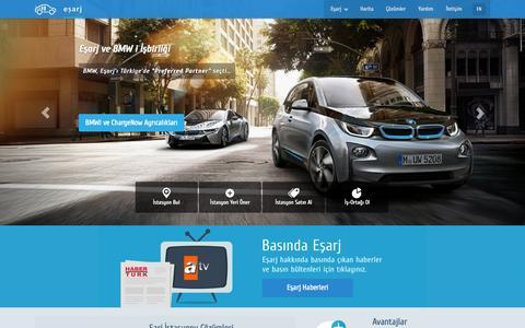 Screenshot of Home Page esarj.com - Eşarj Elektrikli Araçlar/Arabalar Şarj Sistemleri A.Ş. - captured Sept. 19, 2014