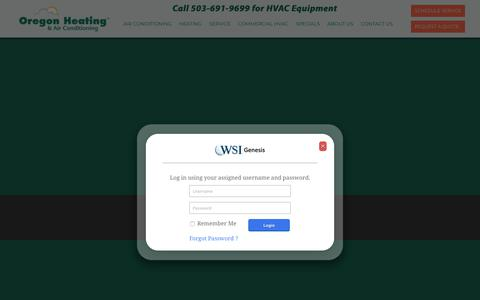 Screenshot of Login Page oregonheating.com - Commitment to HVAC Services in Portland, OR Metro Area - captured Sept. 20, 2018