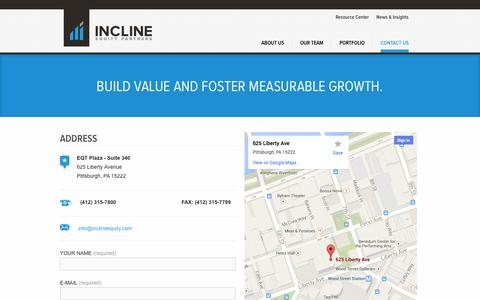 Screenshot of Contact Page inclineequity.com - Incline Equity Partners  » Contact Us - captured Oct. 6, 2014