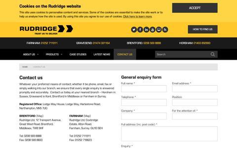 Screenshot of Contact Page rudridge.co.uk - Contact us - captured Oct. 20, 2018