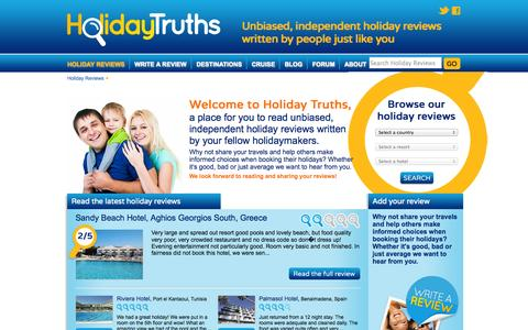 Screenshot of Home Page holidaytruths.co.uk - Read Holiday Reviews & Hotel Reviews | Holiday Truths - captured Sept. 19, 2014