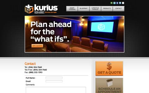 Screenshot of Contact Page kurius.ca - Contact – kurius - Intelligent Homes and Buildings,  Do it once, Do it right. - captured Oct. 27, 2014