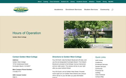 Screenshot of Hours Page goldenwestcollege.edu - Hours of Operation - Golden West College - captured May 21, 2017