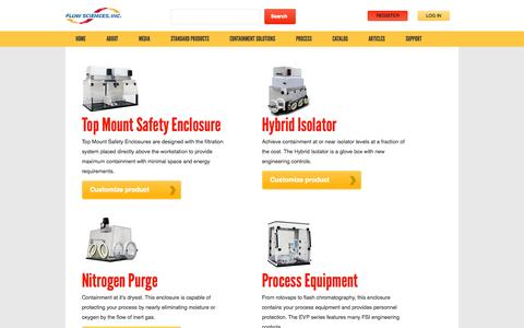Screenshot of Products Page flowsciences.com - Standard Products | Flow Sciences - captured Oct. 6, 2014